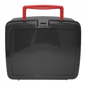 Black School Lunch Box with Red Handle | School Lunch Boxes | Amey Online