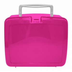 Pink School Lunch Box White Handle | School Lunch Boxes | Amey Online