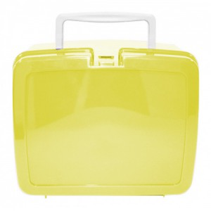 Yellow School Lunch Box with White Handle | School Lunch Boxes | Amey Online